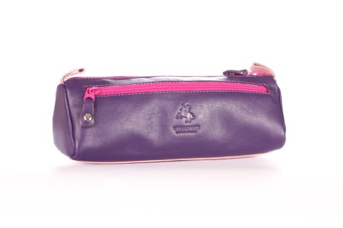 Visconti RB61 Leather Small Makeup Cosmetic Bag Pencil Case Brush or Toiletry Case Supply Holder