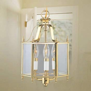 (Livex Lighting 4403-02 Home Basics 3 Light Polished Brass Hanging Lantern or Flush Mount Chandelier with Clear Beveled Glass)