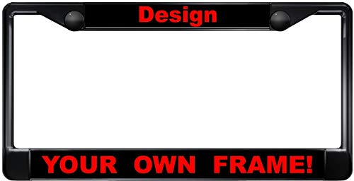 Custom Personalized Black Metal Car License Plate Frame with Free caps - ()