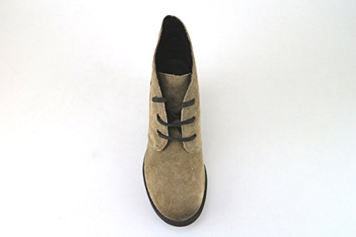 scarpe donna KEYS stivaletti tronchetti beige camoscio AJ148