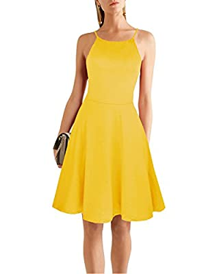 Ineffable Women's Cold Shoulder Sleeveless Mini Spaghetti Strap Casual Dress