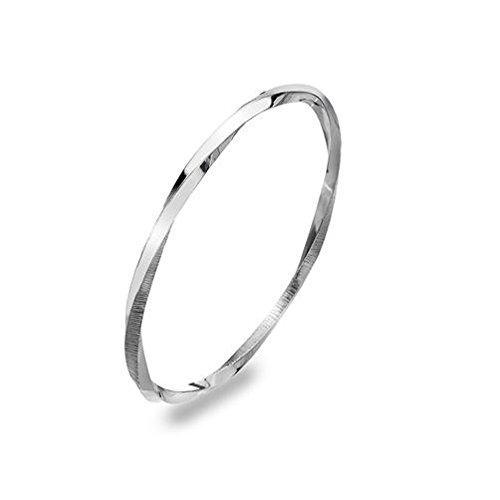 En argent sterling Bracelet jonc torsadé texturé Selene 65mm