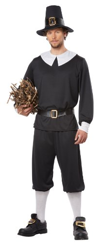 Thanksgiving Costumes (California Costumes Men's Pilgrim Man Adult, Black/White, X-Large)