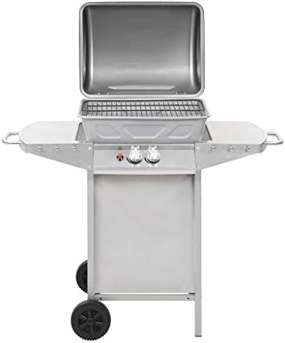 A-ZONE Barbecue à gaz avec 2 Zones de Cuisson Acier Argenté