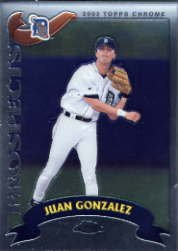 2002 Topps Chrome Traded Baseball Rookie Card #T214 Juan M. Gonzalez Near Mint/Mint