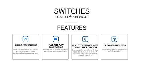 Linksys Business LGS116P-RM2 16-Port Desktop Gigabit Ethernet PoE+ Unmanaged Network Switch I Metal Enclosure (Certified Referbished) by Linksys (Image #3)