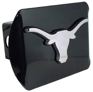 Texas Longhorns Black Metal Trailer Hitch Cover with Chrome Metal Logo (For 2