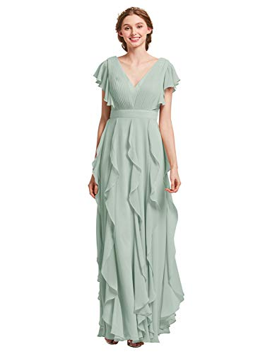 AW BRIDAL Chiffon Bridesmaid Dresses with Sleeves Long Prom Dresses Plus Size Formal Dresses for Women Party