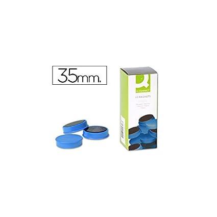 Q-Connect Imanes Para Sujeción Ideal Para Pizarras Magnéticas 35 Mm Azul Caja De 10 Imanes