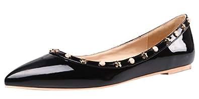 AOOAR Women's Studded Black Patent Flats 10 M US