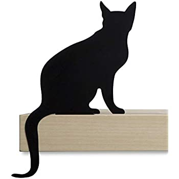 Cat Figurine for Home Decorations & Living Room Decorations- Funny Cat Stuff for Cat Lovers, Cat lover gifts ideas - Metal Cat Decorations, Black Cat Statue for Shelf Decor - Diva Black Cat Decor