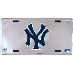 (HangTime New York Yankees logo only Super Stock metal auto tag mirror background)