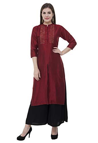 - Lagi Kurtis Ethnic Women Kurta Kurti Tunic Digital Print Printed Straight A-line Top Dress Casual Wear New Launch (Marooon-2XL)