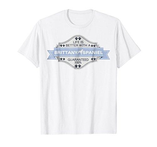 Mens Brittany Spaniel shirt XL White (T-shirt Brittany White Spaniel)