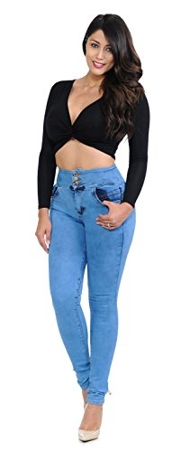 Bleached Skinny Jeans - Fashion2Love Q390 - Colombian Design, Butt Lift, Push up, High Waist, Skinny Jeans in Bleached Light Blue Size 5 (ML2)