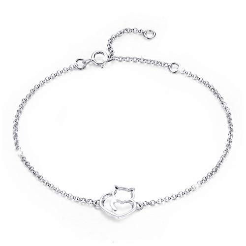 - BAMOER 925 Sterling Silver Expandable Cat Bracelet Adjustable Chain Bracelet for Women Girls