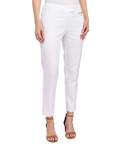 Anne Klein Double Weave Slim Cut Zip Pocket Pants, White (10)