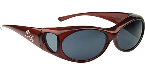 Jonathan Paul Fitover Sunglasses Aurora AR003S Claret Wine Frame Gray Polarized Swarovski Crystal Logo Sunglasses