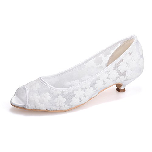 Clearbridal Women's Lace Wedding and Prom Shoes with Imitation Pearl Ornaments ZXF0700-12 White