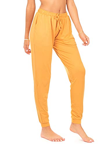 (DEAR SPARKLE Jogger with Pockets for Women Drawstring Lightweight Sweats Yoga Lounge Pants + Plus Size (P7) (Gold, Large))