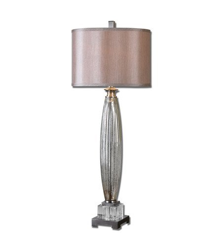 Fluted Glass One Light - Table Lamps 1 Light with Fluted Mercury Glass Brushed Nickel Plated Details and Crystal Accents Cyrstal Metal 37 inch 150 Watts