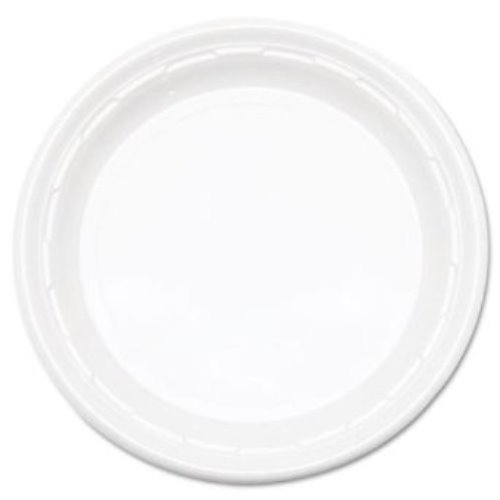 Dart 9PWF, 9-Inch Famous Service White Impact Plastic Plate, Take Out Catering Food Disposable Dinner Plates (100)