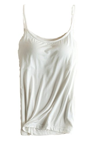 Womens Modal Padded Bra Stretch Sleeveless Cami Tunic Pajama Tank Tops White US 6-8/Tag Size (Molded Cup Camisole)