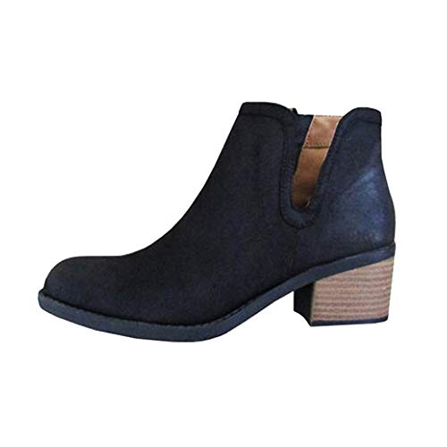 Ladies Boot Low Heel Thick Heel Boot Leather Zipper Boot Snow Boot,Women's Sports Shoes,?Amlaiworld Women Boots Black
