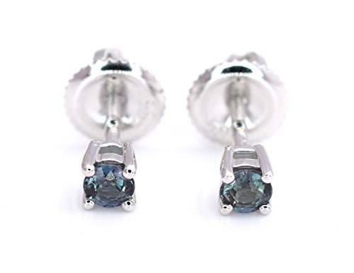 Natural Alexandrite Round Brilliant Cut Stud Earrings 0.26 cttw Color change from Blue Greet to Purple 14K White Gold Screw Back Post NEW ()