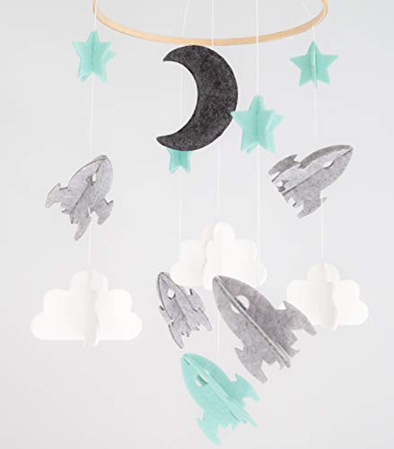 Baby Crib Mobile for Boys and Girls - Baby Shower Gift Set Nursery Decor Infant Room Hanging Decoration Toy Newborn Registry (Modern Unisex Wool Woodland Star Moon Cloud Airplane) Space from Lil Dandelion