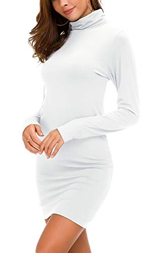 Urban CoCo Women's Long Sleeve Turtleneck Bodycon T-Shirt Dress (XL, White)