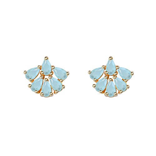 Aqua Blue Crystal Flower (Aquamarine Crystal Flower Stud Earrings For Teen Girls/Women Cubic Zirconia Sakura Blue Cherry Blossom Elegant Stud Earrings)