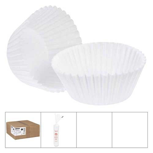 Lapaco White Baking Cup, 4.5 x 2 x 1.25 inch, 1000 count per pack -- 10 per case.