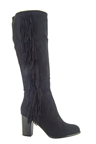 Twinkle Toes, Damen Stiefel & Stiefeletten schwarze Velourslederoptik