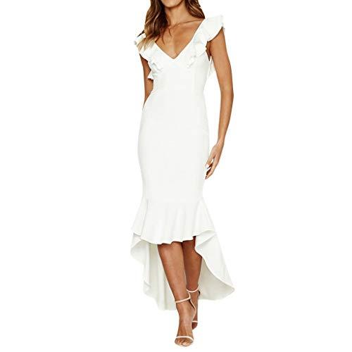 Nihewoo Fishtail Dresses for Women Bodycon Long Dress Irregular Hem Clubwear Dress Ruffle Sleeves Cocktail Party Pencil Dress White