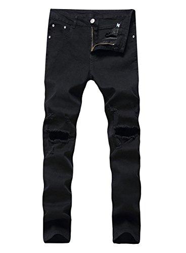 YTD Men's Zipper Biker Jeans Ripped Distressed Slit Denim Slim Stretch Moto Pants (US 38, R-Black)