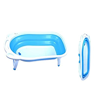 Buy Baby Bucket Folding Baby Bath Tub for infant bathing (Blue ...