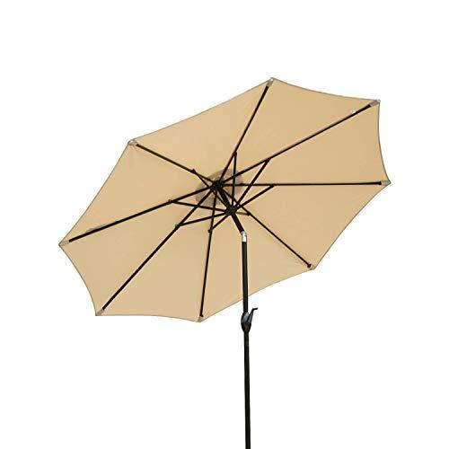 Square Fiberglass Market Umbrella - Dienspeak Deluxe Market Outdoor Aluminum Table Patio Umbrella Sunshade 1000 Hours Fade-Resistant with Push Button Tilt & Crank, Beige