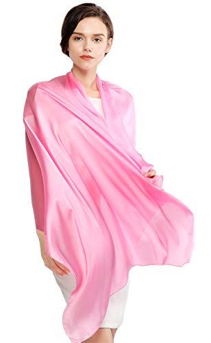 RIIQIICHY Silk Scarf for Women Feeling Silk Sunscreen Long Large Lightweight Satin Shawl Wrap Headscarf (Pink Satin Scarf)
