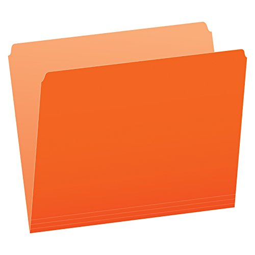 Pendaflex Two-Tone Color File Folders, Letter Size, Orange, Straight Cut, 100/BX (152 ORA)