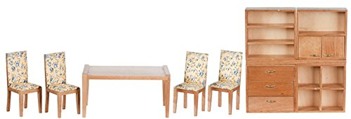 Dollhouse Miniature Modern Dining Set, Oak Finish, 9 pc #T0140 from Town Square Miniatures