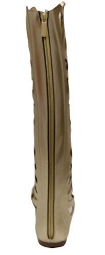 Bella Marie Fantacy-5 Donna Single Band A Coda Di Rondine Con Chiusura A Zip Sandali In Camoscio Color Oro