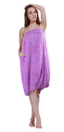 SINLAND Microfiber Bath Wraps for Women Girls Plus Size with Snap Closure Purple