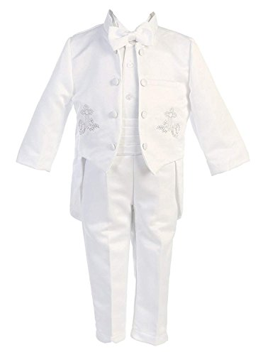 iGirldress Baby Boys White Baptism Christening Mandarin Collar Tail 5 pcs Tuxedo with Silver Cross Embroidery XL (18-24 M) ()