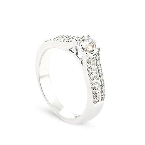 Tousmesbijoux Solitaire Union Or blanc 375/00 Diamant 0,53 carat