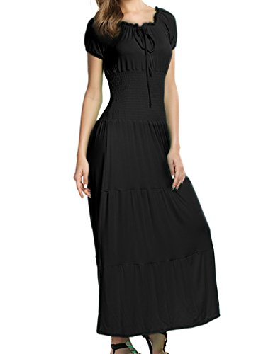 Women's Gypsy Boho Cap Sleeves Smocked Waist Tiered Renaissance Maxi Dress (S,Black) - Long Ruffle Tiered Dress