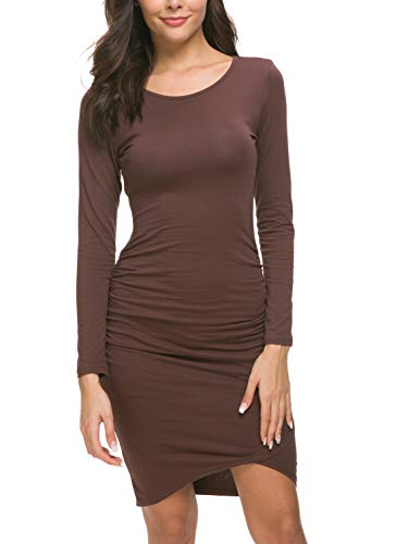 Missufe Women's Casual Long Sleeve Ruched Bodycon Sundress Irregular Sheath T Shirt Dress (Long Sleeve Caramel, Large)