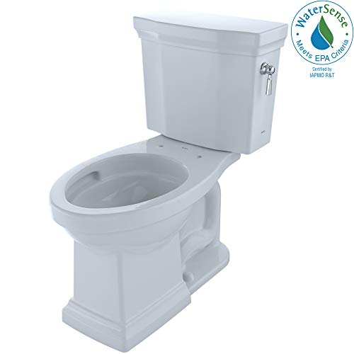 TOTO CST404CEFRG#01 Promenade II Two-Piece Elongated 1.28 GPF Universal Height Toilet with CeFiONtect and Right-Hand Trip Lever, Cotton White