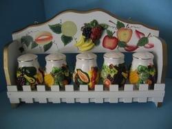 MIXED FRUIT 3-D Wood Spice Rack & 5 Jars Set NEW