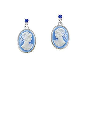 Small Blue Oval Cameo Blue Crystal Post Earrings (Cameo Framed Earrings)